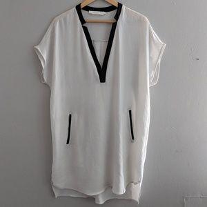 Astr The Label Shift Dress White Black Sheer
